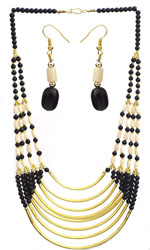 Pearl Black Eight Strand Beaded Necklace with Earrings Set