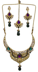 Purple and Green Cut Glass Necklace Set with Mang Tika