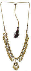 Golden Beaded Kundan Necklace with Faux Pearl