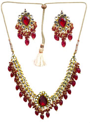 Tango-Red Bridal Beaded Kundan Necklace Set