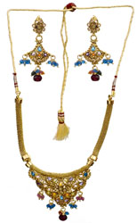 Multi-Color Polki Necklace with Earring Set