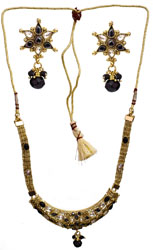 Faux Black Spinel Necklace Set with Cut Glass