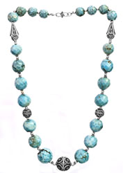 Faceted Turquoise Fine Beaded Necklace