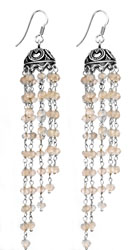 Rose Quartz Umbrella Chandeliers Earrings