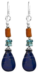 Gemstone Earrings (Coral, Turquoise and Lapis Lazuli)