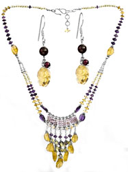 Gemstone Beaded Necklace with Earrings Set (Peridot, Citrine, Amethyst and Garnet)