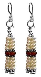 Pearl Shower Earrings with Carnelian