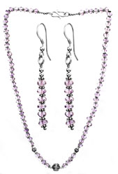 Faceted Amethyst Beaded Necklace with Matching Earrings Set