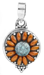 Blooming Flower Pendant with Coral and Turquoise