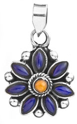 Lapis Lazuli Flower Pendant with Coral