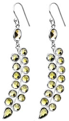 Faceted Peridot Leaves Earrings with Citrine