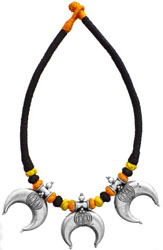 Cord Necklace with Lotus Feet of Lord Vishnu