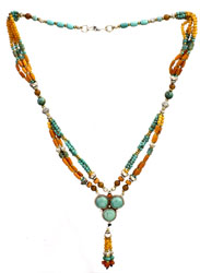 Gemstone Beaded Necklace (Turquoise, Coral and Carnelian)