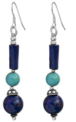 Twin Lapis Lazuli Earrings with Turquoise