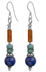 Lapis Lazuli and Coral Earrings with Turquoise