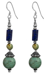 Twin Turquoise Earrings with Lapis Lazuli