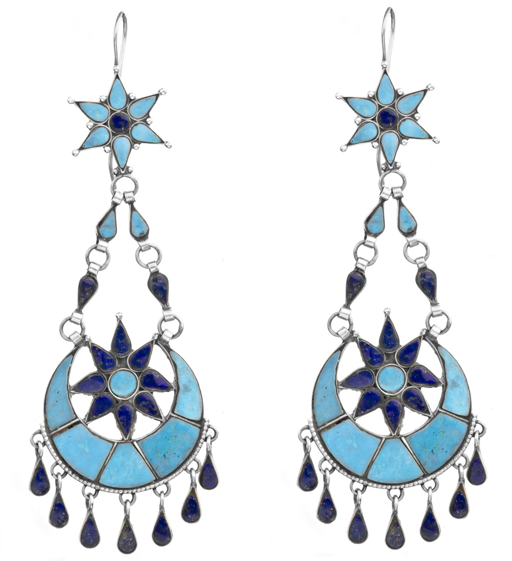 sun and moon inlay earrings