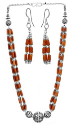 Coral Necklace with Matching Earrings Set