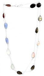 Faceted Gemstone Long Necklace (Black Spinel, Labradorite, Rose Quartz, Smoky Quartz, Prehnite, Blue Chalcedony and Carnelian)