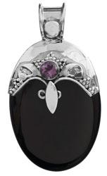 Black Onyx Pendant with Amethyst
