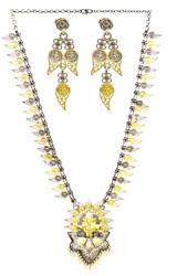 Lord Ganesha Gold Plated Necklace with Earrings Set