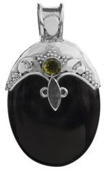 Black Onyx Pendant with Peridot