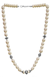 Pearl Necklace with Sterling Beads