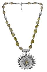 Faceted Lemon Topaz Sunflower Necklace