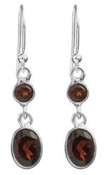 Twin Faceted Garnet Earrings