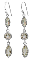 Faceted Green Amethyst Earrings