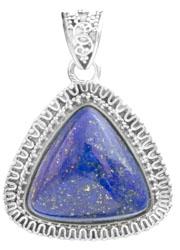 Gemstone Triangle Pendant with Filigree