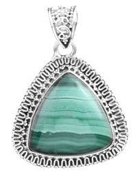 Gemstone Triangle Pendant with Filigree