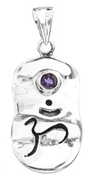 Om (Aum) Pendant with Faceted Amethyst