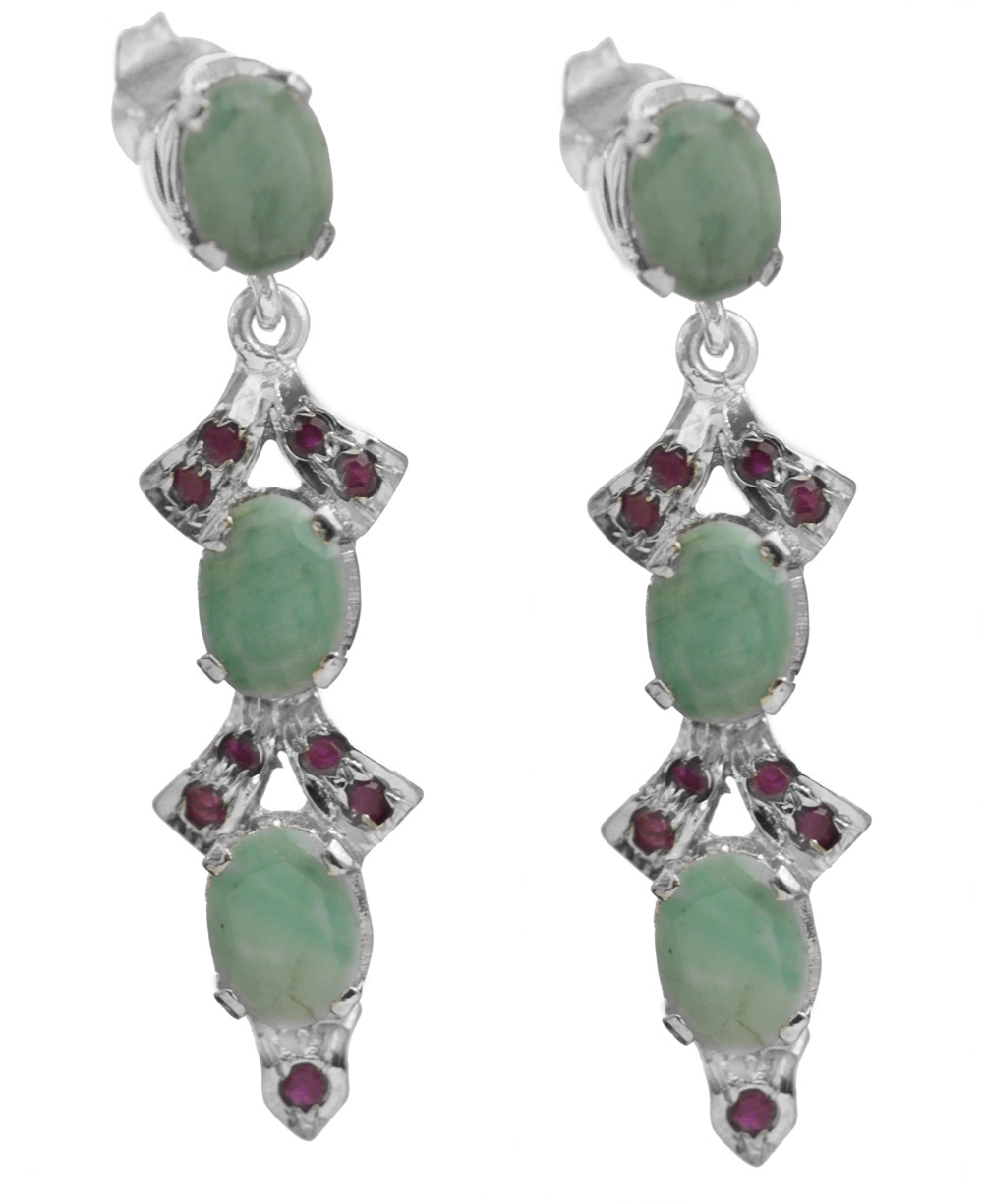 faceted emerald with ruby post earrings