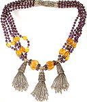 Amethyst and Yellow Chalcedony Marvel Beaded Necklace with Sterling Tassels