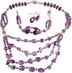 Amethyst Bracelet, Necklace and Earrings Set