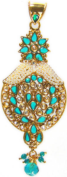 Azure Polki Crown Pendant with Cut Glass and Faux Pearls