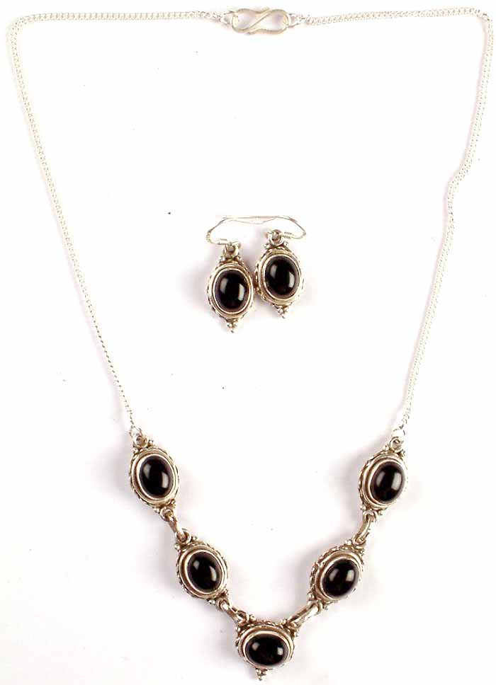 black onyx necklace and earrings set