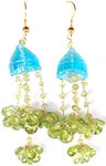Carved Apatite and Faceted Peridot Umbrella Chandeliers