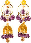 Carved Citrine Umbrella Chandeliers with Faceted Amethyst