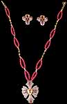 Citrine & Pink Tourmaline Necklace & Earrings Victorian Set
