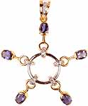 Designer Gold Pendant with Diamonds and Faceted Water Sapphire