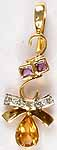 Designer Gold Pendant with Fine Cut Amethyst, Citrine & Diamonds