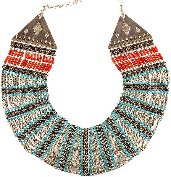 ethnic gemstone beaded necklace from ladakh turquoise and