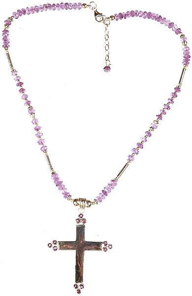 Faceted Amethyst Cross Necklace