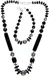 Faceted Black Onyx Necklace with Bracelet Set