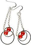 Faceted Carnelian Dangling Hoops Earrings