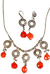 Faceted Carnelian Necklace with Matching Earrings Set