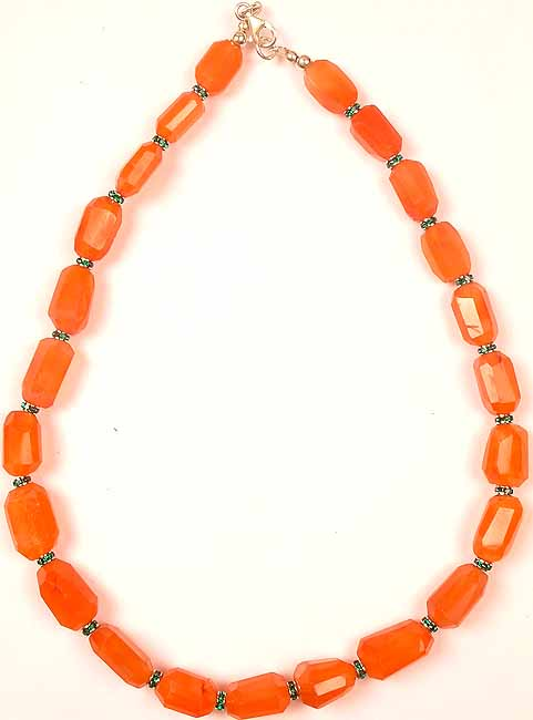 Faceted Carnelian Necklace with Swarovski