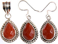 Faceted Carnelian Pendant with Matching Earrings Set